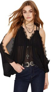 Nasty Gal Music Festival Fashion Blogger Lace Cold Victorian Top Black