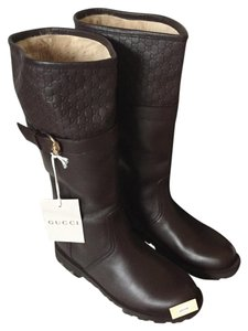 Gucci Leather Signature Logo Brown Boots