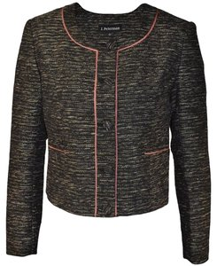 J. Peterman Tweed Collarless Fall Winter Black Ivory Pink Blazer
