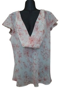 Apt. 9 Floral Chiffon Sheer Formal Evening Top Pink & White