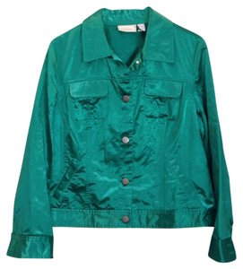 Chico's Satin Kelly Green Jacket