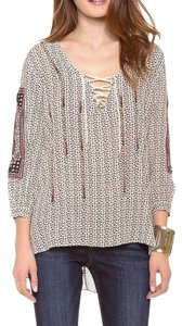 Love Sam Bohemian Lace Up Printed Tassel Tie High Low Tunic