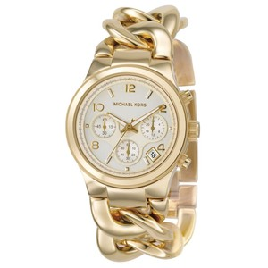 Michael Kors $250 NWT Runway Twist Gold Glamorous Chain Link Watch MK3131