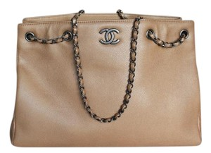 Chanel Caviar Large Shopping Ruthenium Hardware Tote in Beige