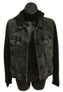 American Eagle Outfitters Levi Hooded Black Womens Jean Jacket