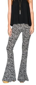 Show Me Your Mumu Stretchy Bell Long Spanx Printed Leopard Flare Pants Black Multi