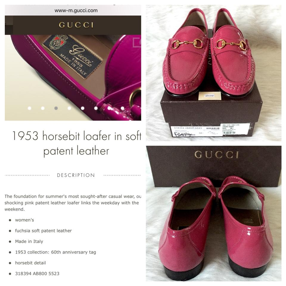 954ead3ce57 Gucci Fuchsia Horsebit Soft Patent Leather Loafer Pink 318394 Ab800 ...