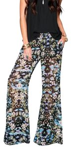 Show Me Your Mumu Bells Stretchy Bohemian Print Bell Flare Pants Blue, Black Multi
