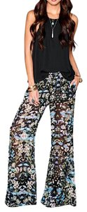 Show Me Your Mumu Tass Party Talking Tulips Print Bell Stretchy Boho Flare Pants Black