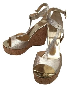Jimmy Choo Gold Patent Wedges