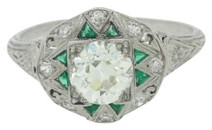 1920s Art Deco Platinum .98ct Diamond Emerald Engagement Ring EGL