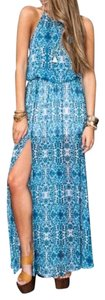 Blue Multi Maxi Dress by Show Me Your Mumu Printed Maxi Long Gown