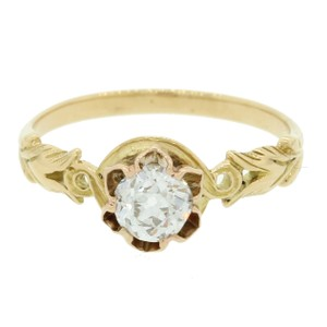 1880s Antique Victorian 18k Gold .45ct Diamond Engagement Ring EGL