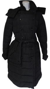 Burberry Long Down Parka Removable Hood Designer Brit Coat