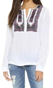 Love Sam Bohemian Embroidered Gauze Long Sleeve Peasant Top White Multi