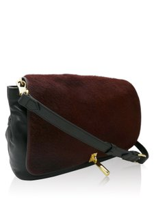 Elizabeth and James Pony Hair Black Burgundy Messenger Bag