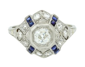 Other Antique Art Deco Platinum .72ctw Diamond Sapphire Engagement Ring EGL