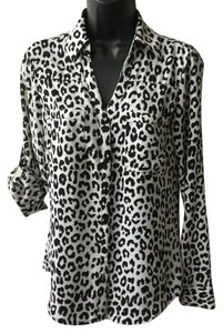 Express Leopard Animal Button Down Shirt Black and white