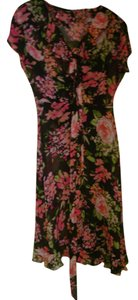 MSK short dress Black and pink floral Flirty Chiffon on Tradesy