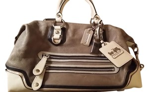 Coach Satchel in Gray, beige, off white