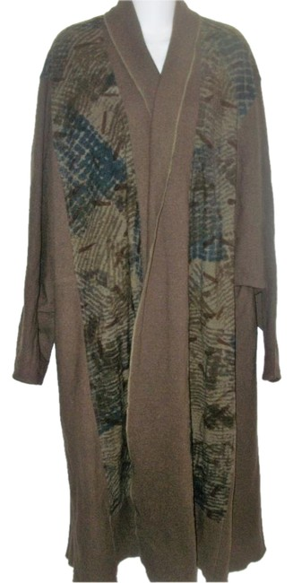 Item - Brown Art To Wear Wool Open Front Duster Coat Size 14 (L)