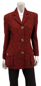 Versace Italian Tweed Wool Winter Red, Black Blazer
