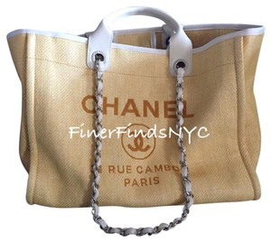 Chanel Deauville Canvas Tote in Yellow
