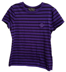 Ralph Lauren Cotton Striped Machine Washable T Shirt Purple