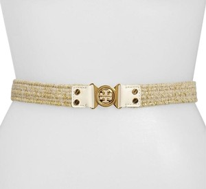 Tory Burch Metallic Gold Interlocking Logo Stretch Belt