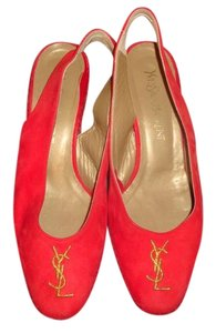 Saint Laurent Pump Heels Slingback Heel Red Suede Pumps
