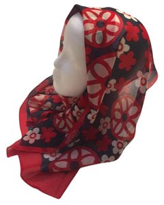 Chiffon Funky Vintage Red White Blue Flowers Scarf