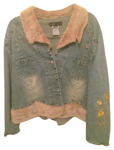 Revolt Jeans Faux Fur Embroidered Plus-size Faded Blue Womens Jean Jacket