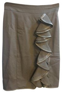 Nanette Lepore Pencil Sexy Volant Skirt Beige