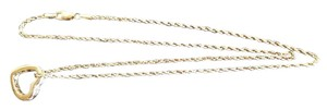 Other 14K Gold Rope 20in. chain w 5/8in. Heart w/White Sapphire Stones
