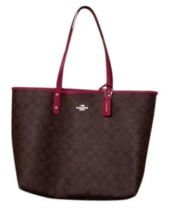 Coach Tote in Brown, Black, Fuschia