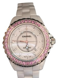 Chanel Chanel J12 White Ceramic 42mm Diamond Face Pink Sapphire Bezel H2011