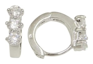 Other 3 Cubic Zirconia Sparkly Stone Mini Huggie Silver Rhodium Earrings