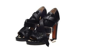 Jean-Paul Gaultier Heels Gladiator Leather Made In Italy Black Sandals