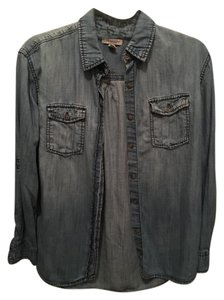 Lark & Wolff Cotton Denim Casual Button Down Shirt Chambray