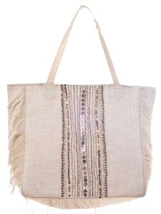 Muche et Muchette Embellished Bohemian Book Tote in Natural Multi