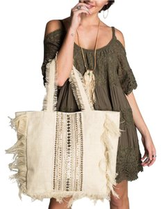 Southern Girl Fashion Embellished Bohemian Book Beach Tote in Beige