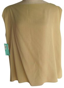 Donna Karan Silk Signature Sz M/l Top Tan