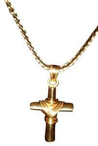 22k solid yellow gold cross and chain