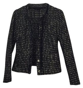 Sisley Tweed Chanel Jacket Navy Blazer