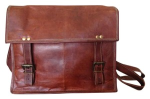 India Boutique Made In Leather Satchel in Chestnut Brown