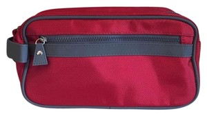 Macy's Macy's Large Red And Gray Cosmetics Makeup Toiletries Bag Case Pouch