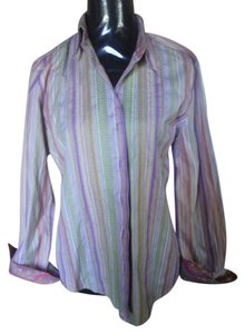 Robert Graham Cuff Detail Button Up Button Down Shirt Multi color embroidery