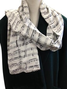 Silk Music Notes Scarf Black White Fringes