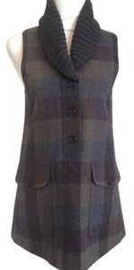 Theory Plaid Wool Button Down Nwot Fitted Vest