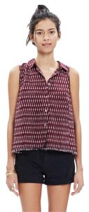 Madewell Button Down Shirt Cranberry & Cream